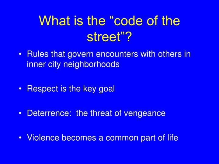 What is the code of the street