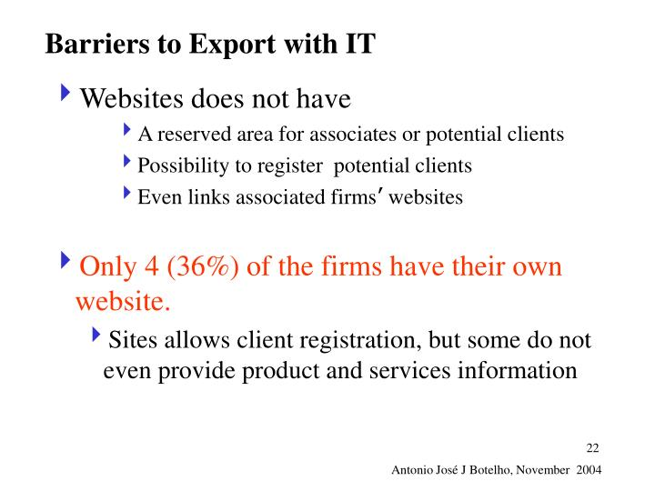 Barriers to Export with IT