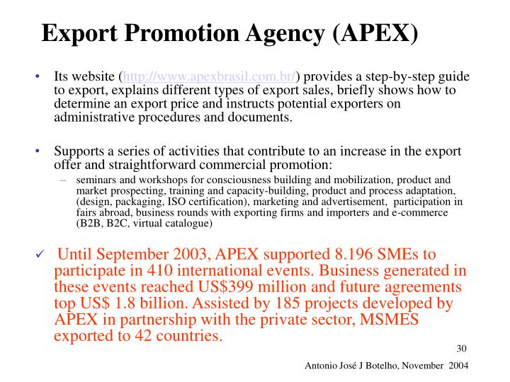 Export Promotion Agency (APEX)