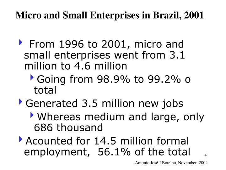 Micro and Small Enterprises in Brazil, 2001
