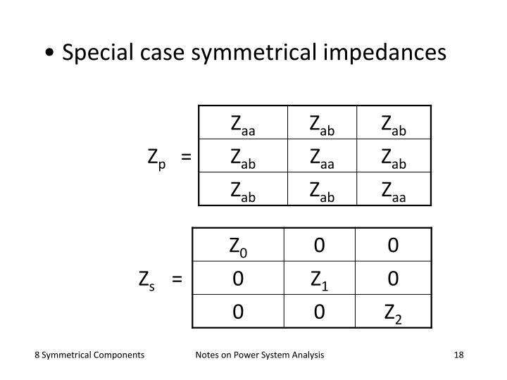 Special case symmetrical impedances