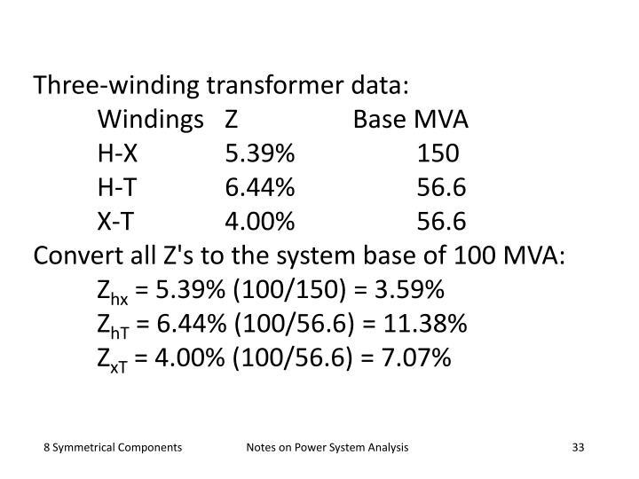 Three-winding transformer data: