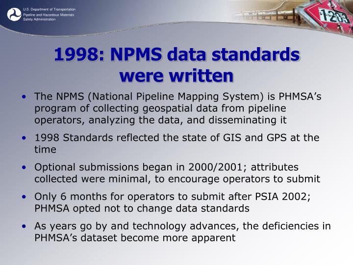 1998: NPMS data standards