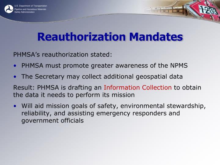 Reauthorization Mandates