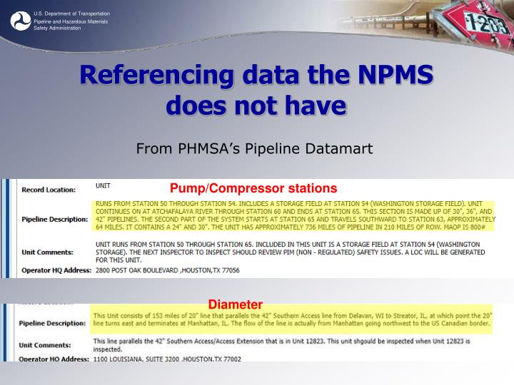 Referencing data the NPMS