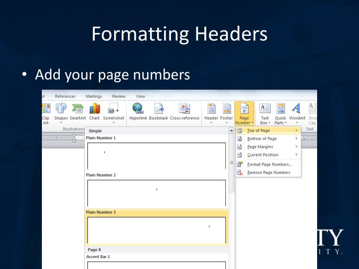Formatting Headers