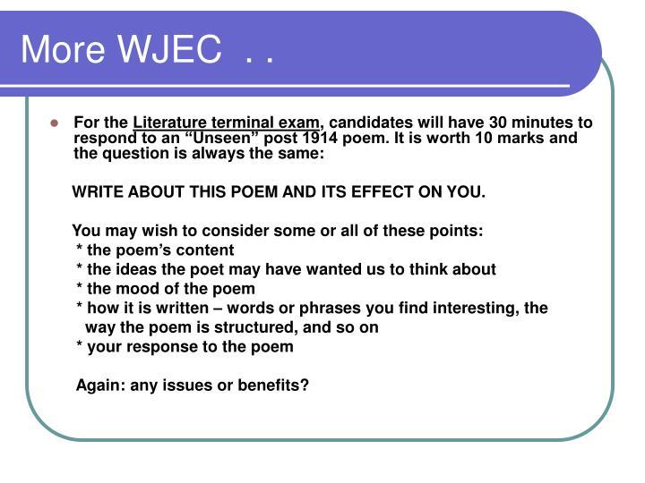 More WJEC  . .