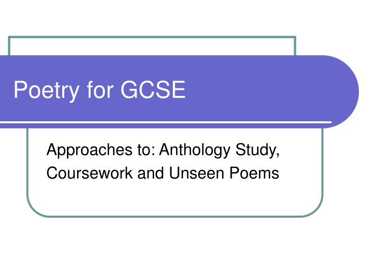 Poetry for gcse