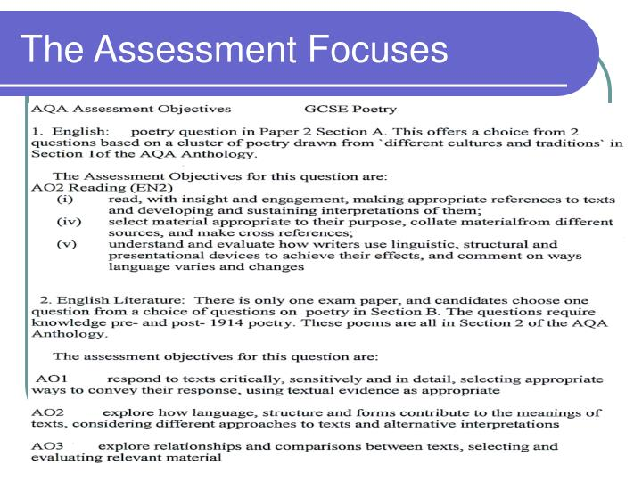 The assessment focuses