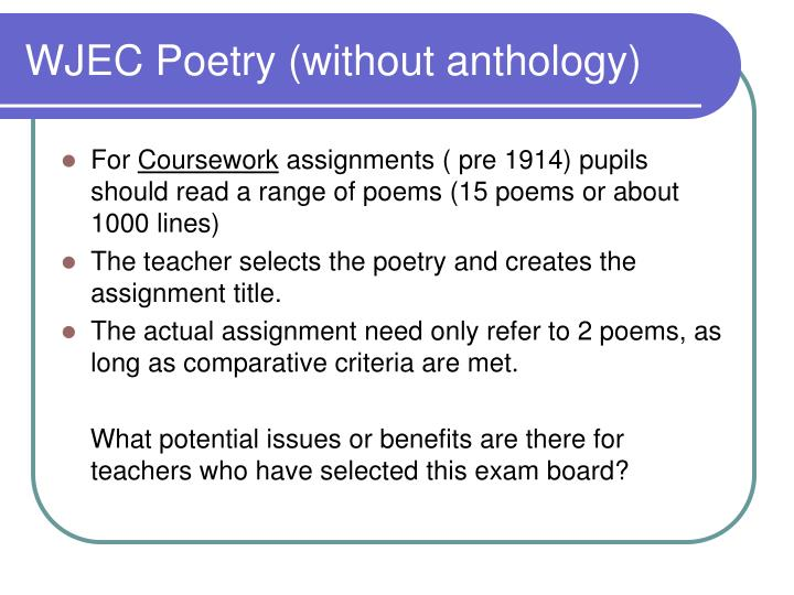 WJEC Poetry (without anthology)
