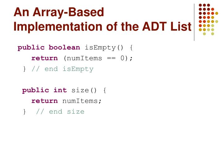 An array based implementation of the adt list2