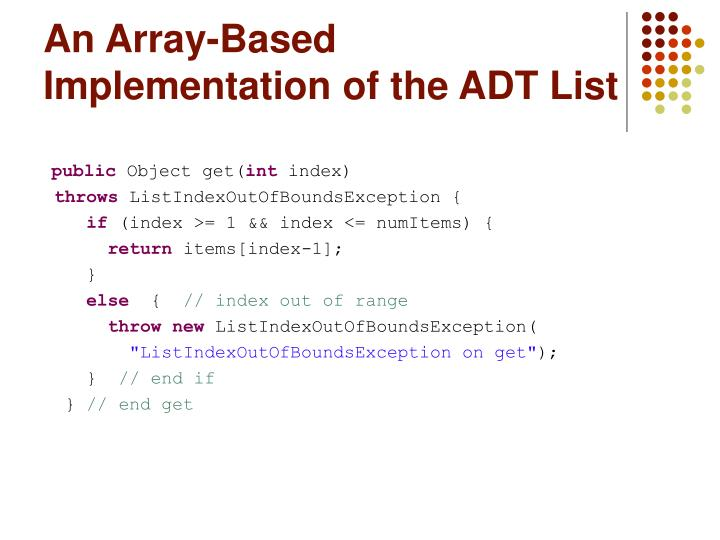 An Array-Based Implementation of the ADT List