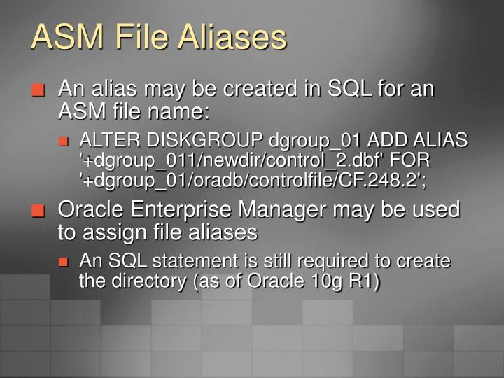 ASM File Aliases