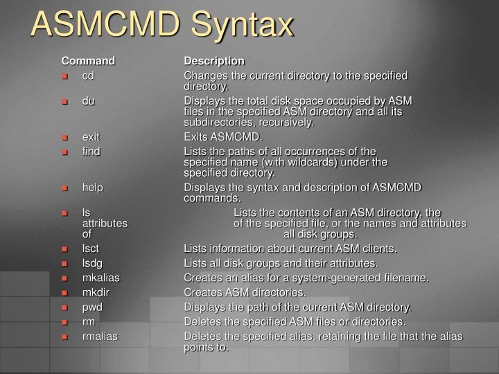 ASMCMD Syntax