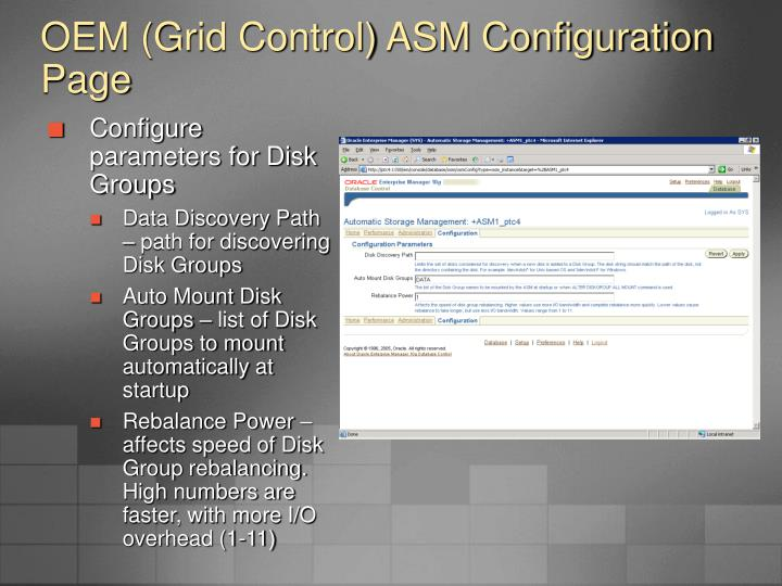 OEM (Grid Control) ASM Configuration Page