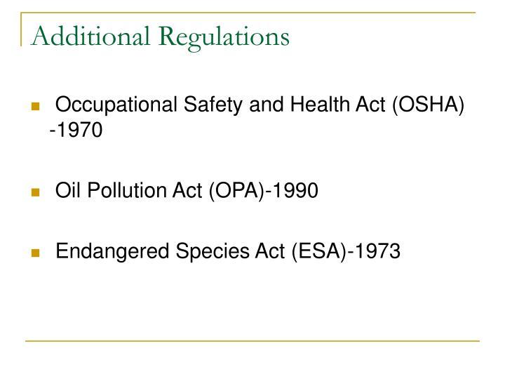 Additional Regulations