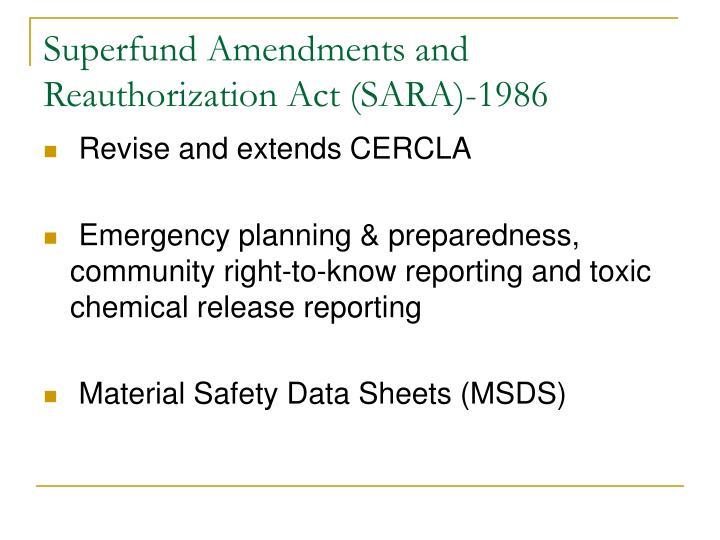 Superfund Amendments and Reauthorization Act (SARA)-1986
