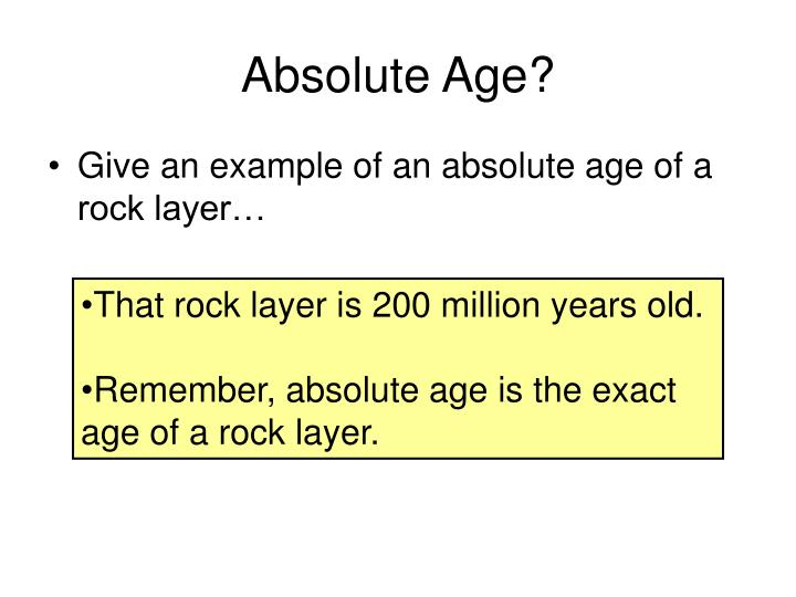 Absolute Age?
