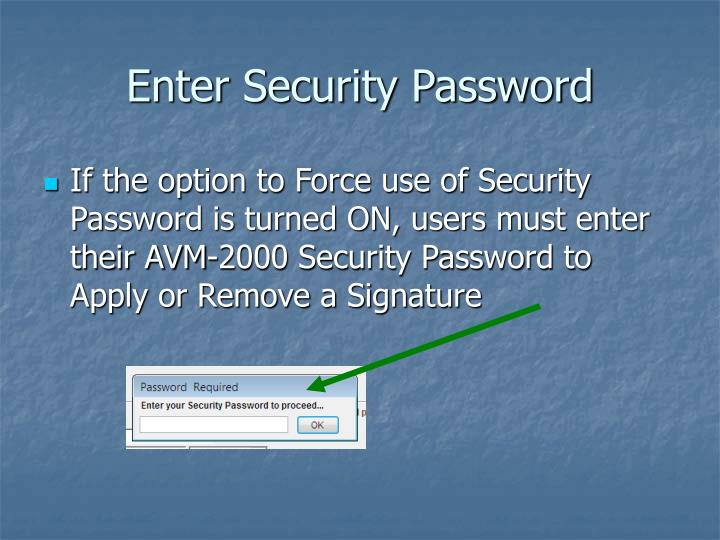 Enter Security Password