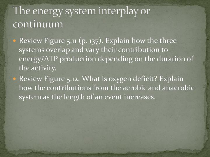 The energy system interplay or continuum