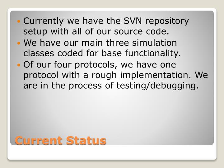 Currently we have the SVN repository setup with all of our source code.