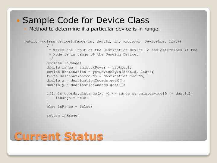 Sample Code for Device Class