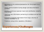 experiences challenges