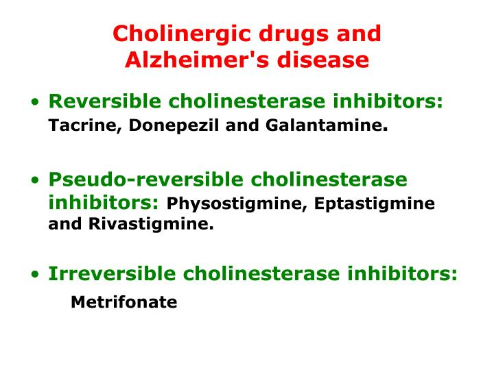 Cholinergic drugs and