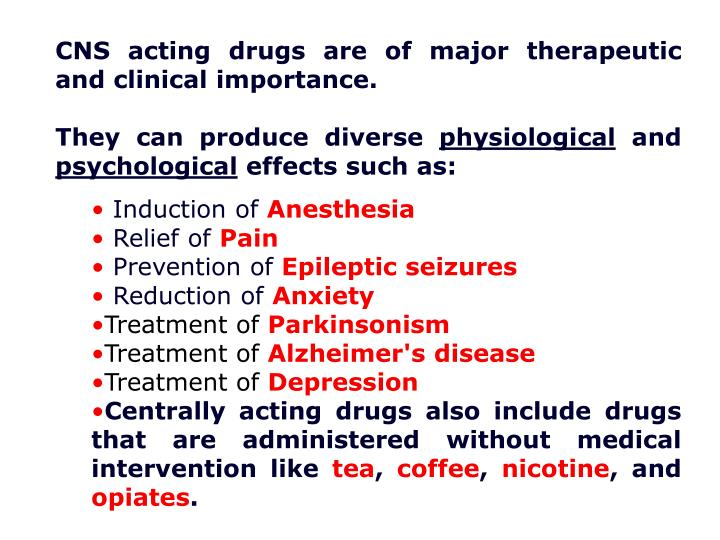 CNS acting drugs are of major therapeutic and clinical importance.