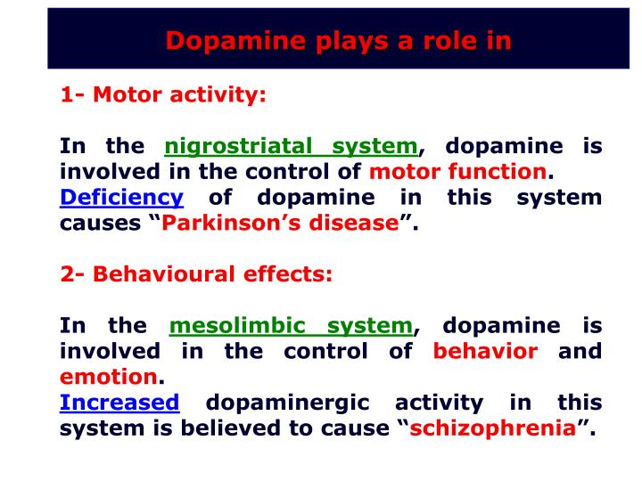 Dopamine plays a role in