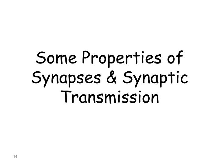 Some Properties of Synapses & Synaptic Transmission