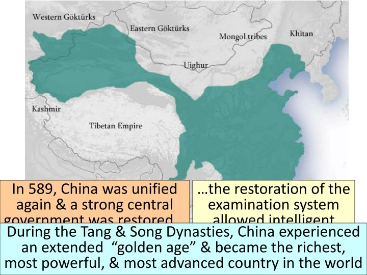 In 589, China was unified again & a strong central government was restored...
