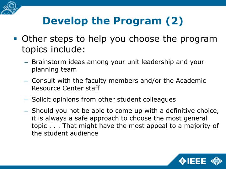 Develop the Program (2)