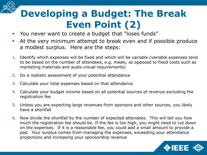 Developing a Budget: The Break Even Point (2)