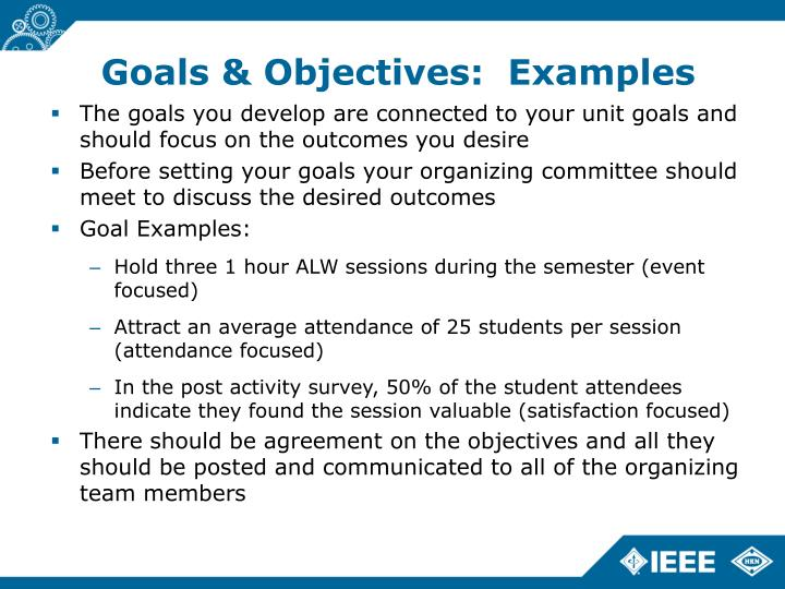 Goals & Objectives:  Examples