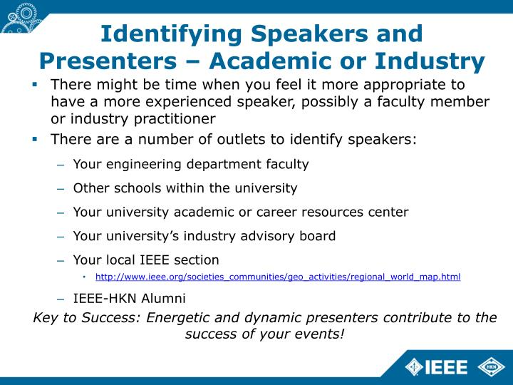 Identifying Speakers and Presenters – Academic or Industry