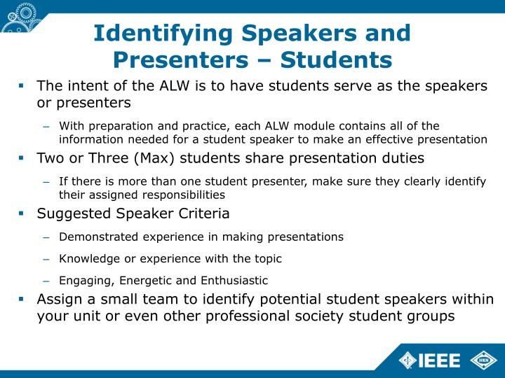 Identifying Speakers and Presenters – Students