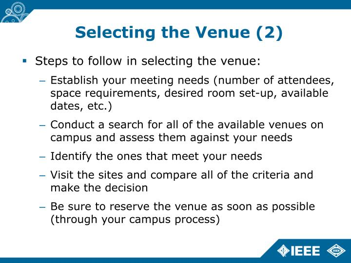 Selecting the Venue (2)