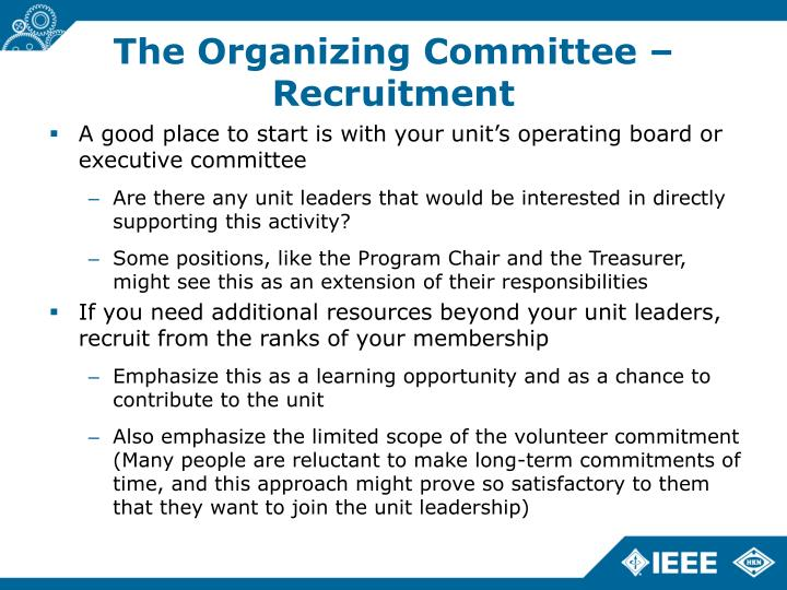 The Organizing Committee – Recruitment