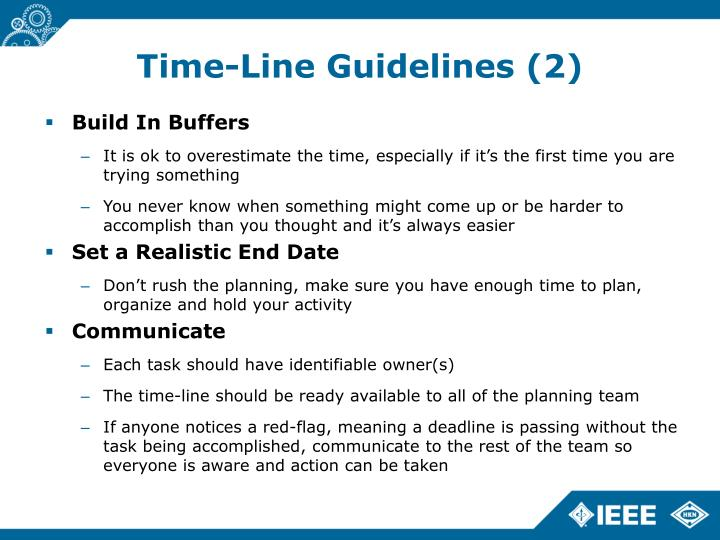 Time-Line Guidelines (2)