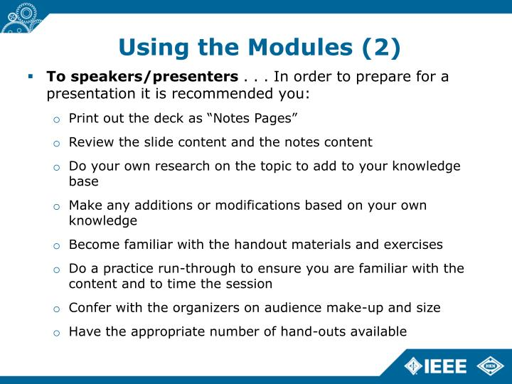 Using the Modules (2)