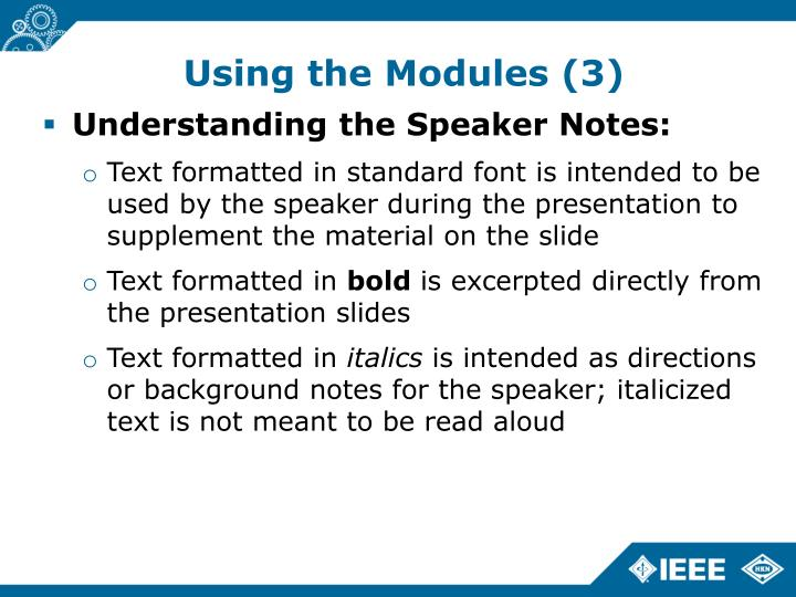 Using the Modules (3)