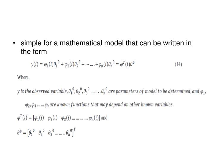 simple for a mathematical model that can be written in the form