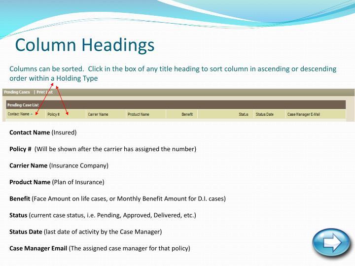 Column Headings