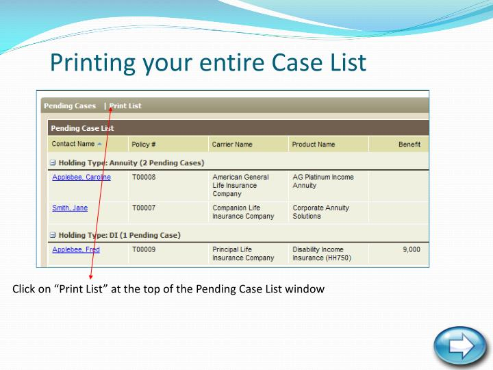 Printing your entire Case List