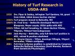 history of turf research in usda ars