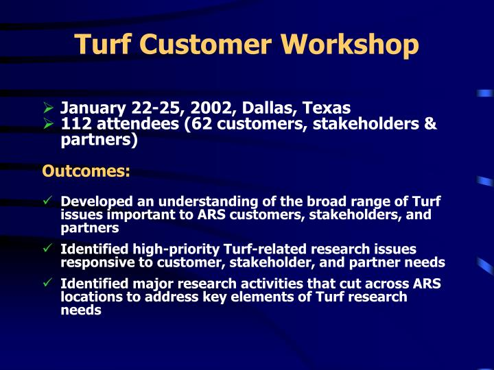 Turf Customer Workshop