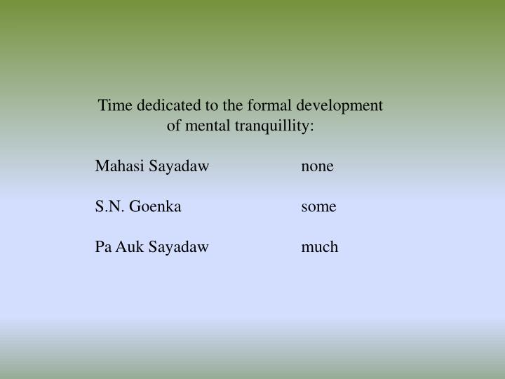 Time dedicated to the formal development