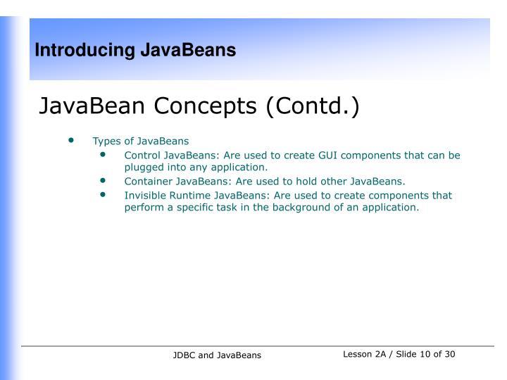JavaBean Concepts