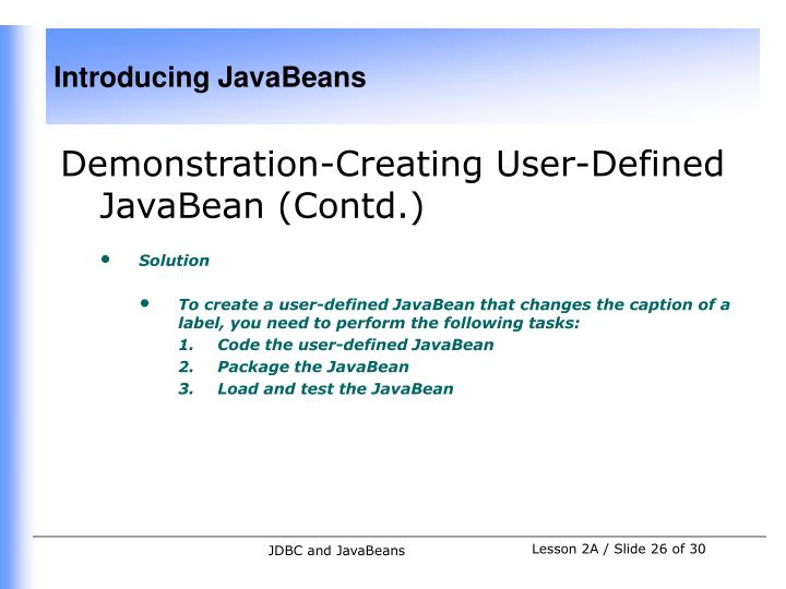 Demonstration-Creating User-Defined JavaBean (Contd.)